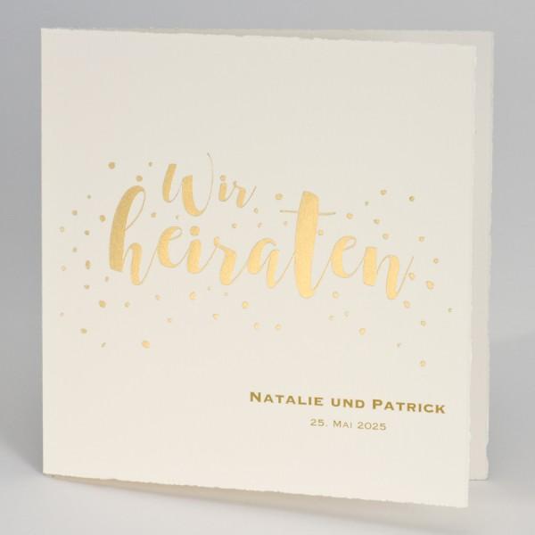 """Hochzeitskarte mit Schriftzug """"Wir heiraten"""" in Gold"""