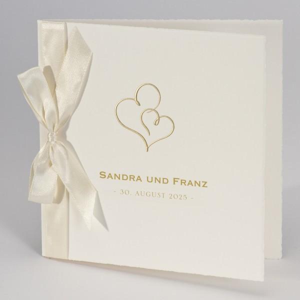 Hochzeitskarte mit Doppelherz in Gold & beigem Band
