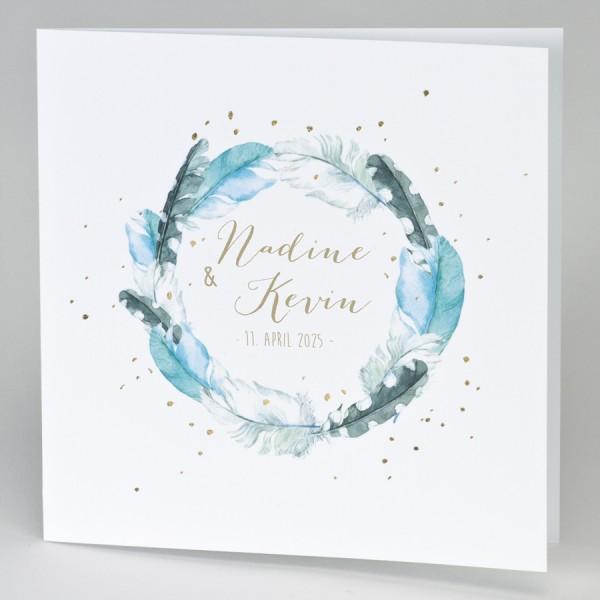 Hochzeitskarte mit Federkranz & Konfettis in Goldfolie
