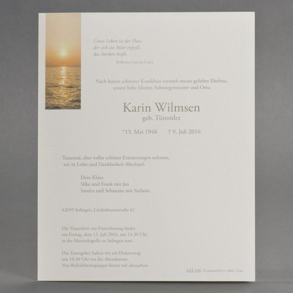 Doppelter Trauerbrief mit Sonnenuntergang über Meereshorizont inkl. passendem Briefumschlag