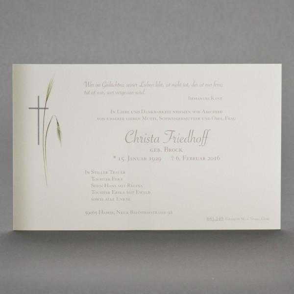 Einzelkarte mit Schattierung, sowie Kreuz mit Ähren inkl. passendem Briefumschlag