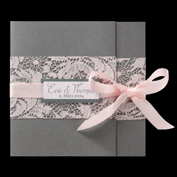 Hochzeitskarte - Luxeriöser Karton mit romantischen Band