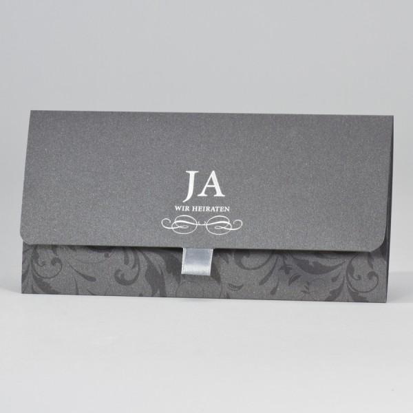 Edle anthrazitfarbige Aussenkarte mit Silberfolienprägung veredelt