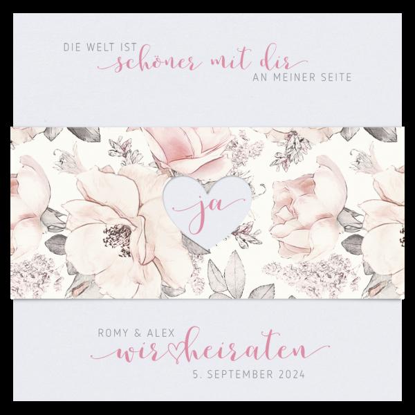 Hochzeitskarte - Aquarell Blumen