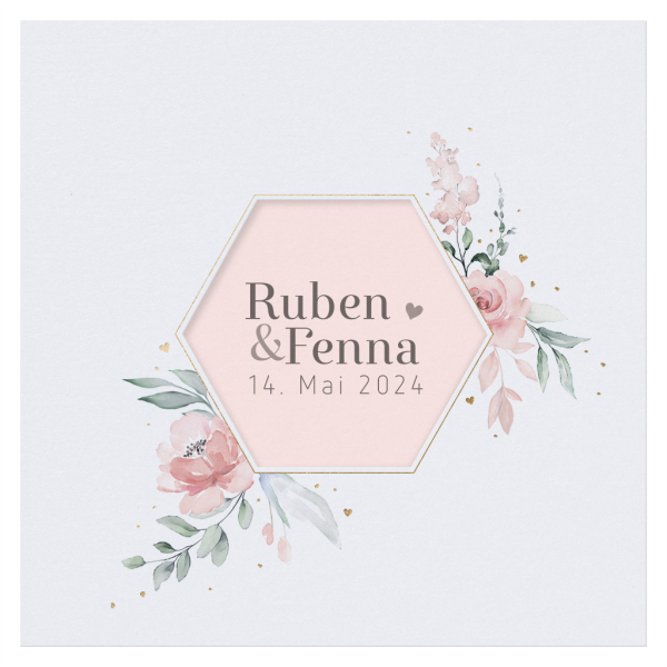 Hochzeitskarte - Aquarell mit Blumen
