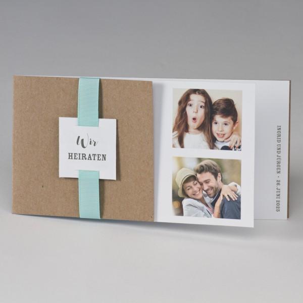 Kraftpapier Fotohochzeitskarte mit farbigem Band