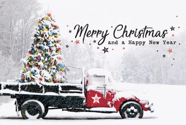 """Weihnachtskarte """"Vintage Truck mit Weihnachtsbaum"""""""