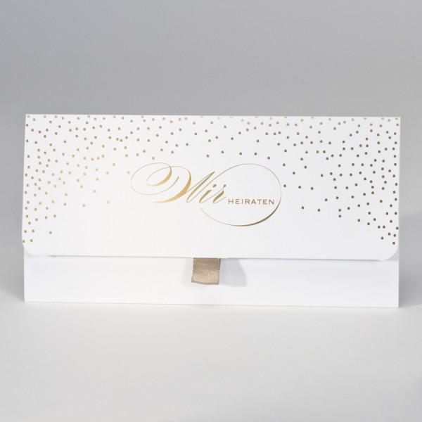 Taschenlook-Design mit Konfettis in Goldfolie