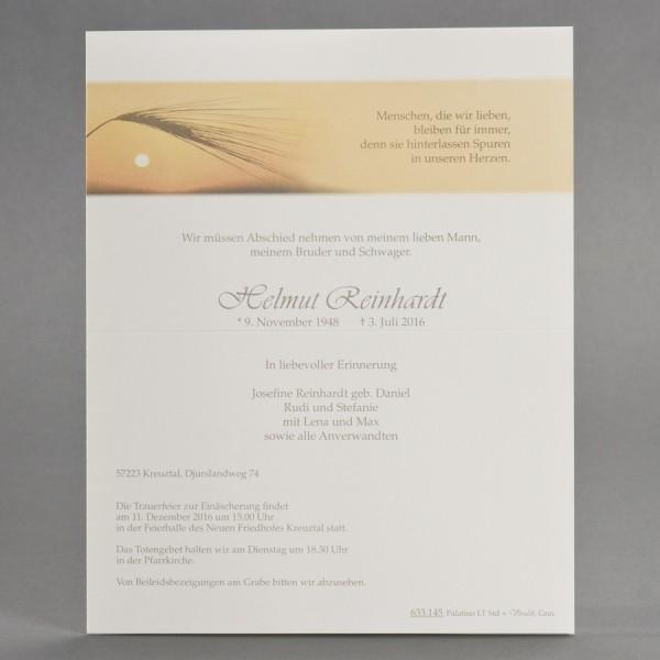 Doppelter Trauerbrief mit Korn im Sonnenuntergang inkl. passendem Briefumschlag