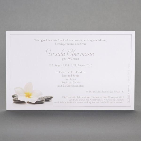 Einzelkarte mit Orchideenblüte und Steinen inkl. passendem Briefumschlag