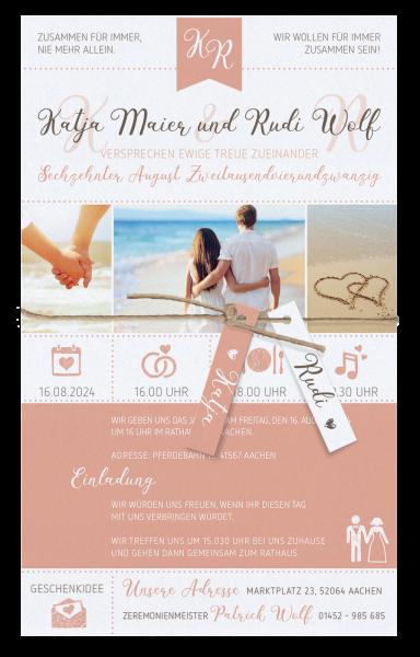 Hochzeitskarte - Strandmotiv