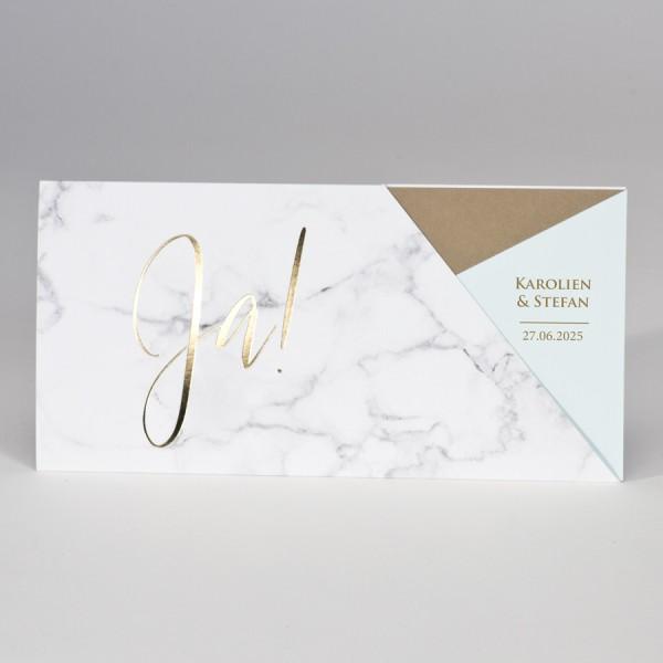 """Ja"" Hochzeitskarte im Marmor-Design & Mintgrün"