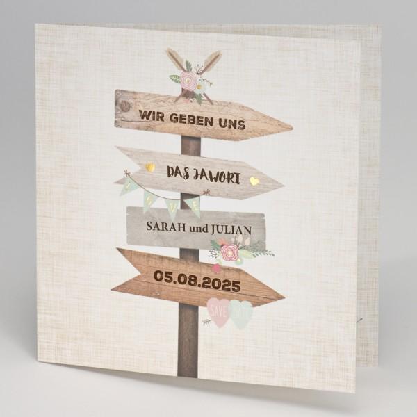 Hochzeitskarte mit Wegweiser