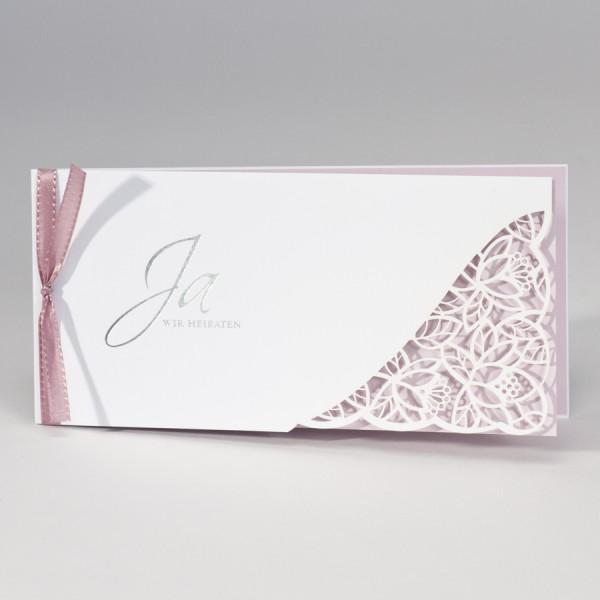 Hochzeitskarte mit Spitze Stanzung & rosa Einleger