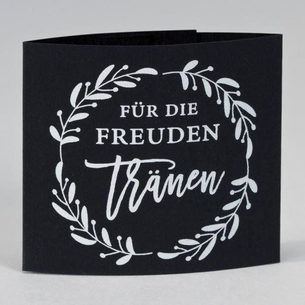 """Serviettenhalter """"Freudentränen"""" mit Lorbeerkranz in Weißfolie"""
