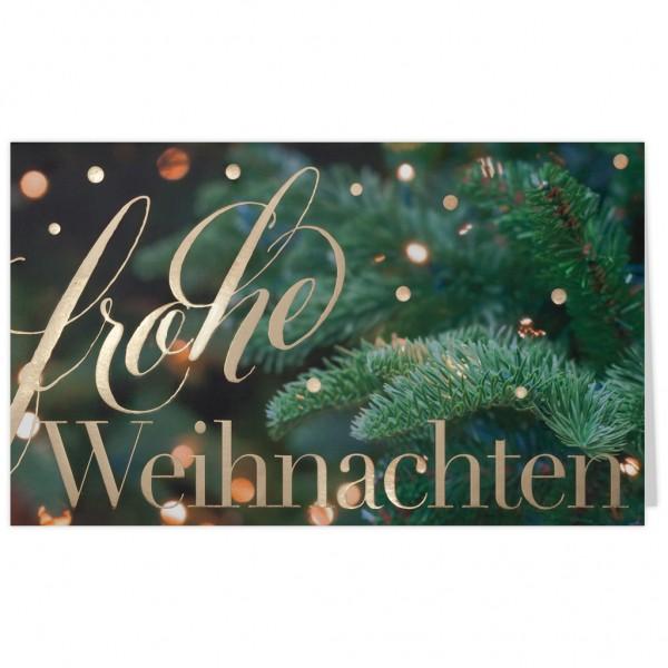 """Weihnachtskarte """"Tannenzweig mit goldenen Lichtern"""""""