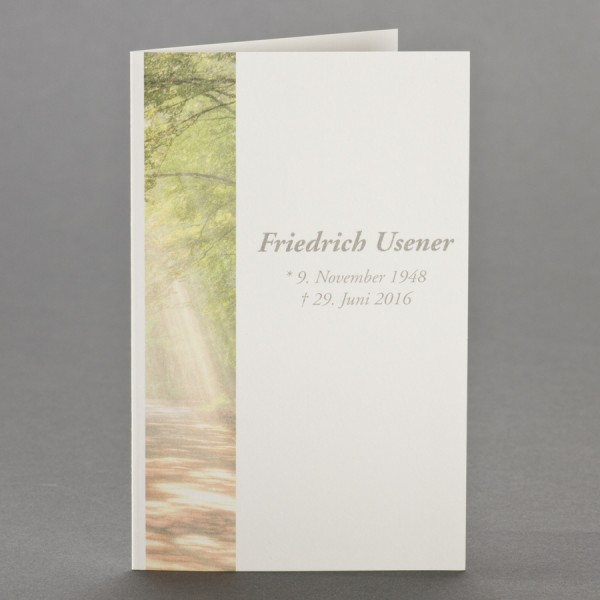 Trauerbild mit Waldlichtung zu 1-Nutzen inkl. passendem Briefumschlag