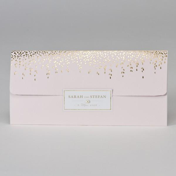 Hochzeitskarte im Taschenlook mit Perle & Blättern in Goldfolie