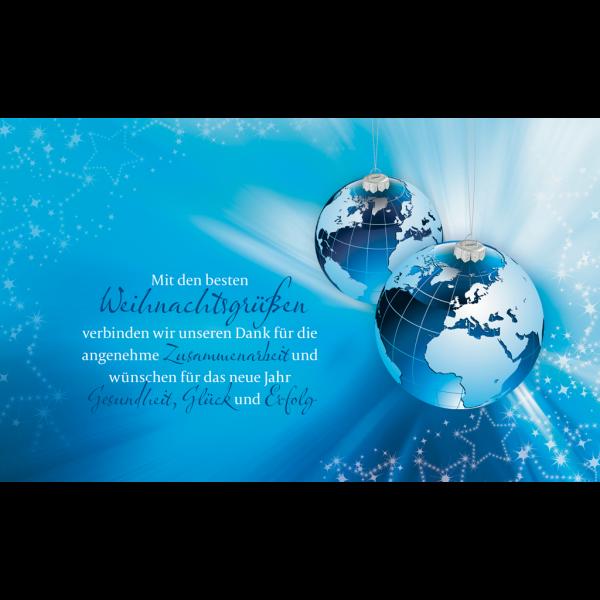 """Weihnachtskarte """"Blaue Weihnachtskugeln im Stil eines Globus"""""""