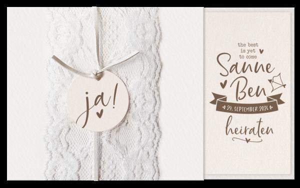 Hochzeitskarte - Edle Karte mit Spitze