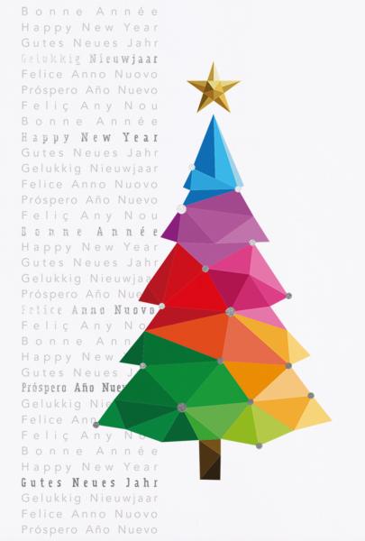 """Weihnachtskarte """"Geometrischer Weihnachtsbaum in Regenbogenfarben mit internationalen Wünschen"""""""