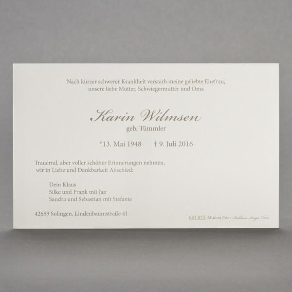 Trauerkarte Blanko Einzelkarte Variante 1 inkl. passendem Briefumschlag