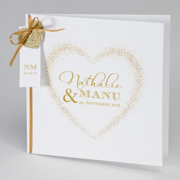 Hochzeitskarte mit goldenem Glitzerherz