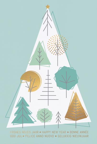 """Weihnachtskarte """"Weihnachtsbäume mit geometrischen Formen"""""""