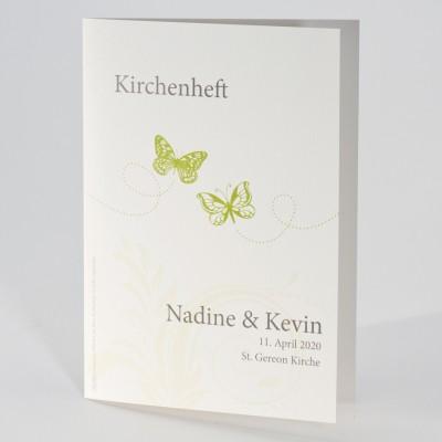 Kirchenheft mit grünen Schmetterlingen