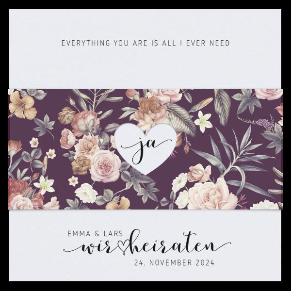 Hochzeitskarte - Klassisches Blumenmotiv