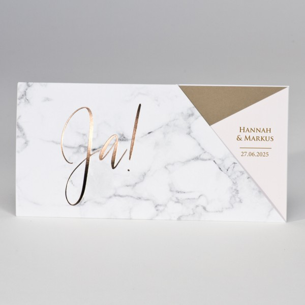 """""""Ja"""" Hochzeitskarte im Marmor-Design & Rosegoldfolie"""