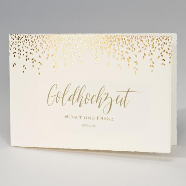 Bütten-Jubiläumskarte mit Blättern in Goldfolie