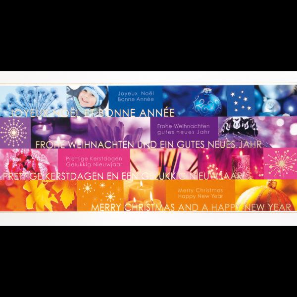 """Weihnachtskarte """"Stimmungsvolle Jahreszeitenbilder mit internationalen Wünschen"""""""