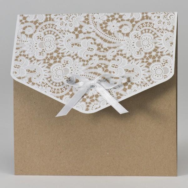 Hochzeitstasche aus Kraftpapier mit Klappe aus Spitze
