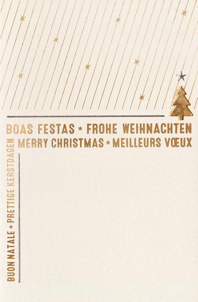 """Weihnachtskarte """"Goldener Sternenregen mit Weihnachtsbaum und internationalen Weihnachtsgrüßen"""""""