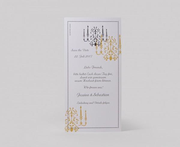 Hochzeitskarte Chandelier