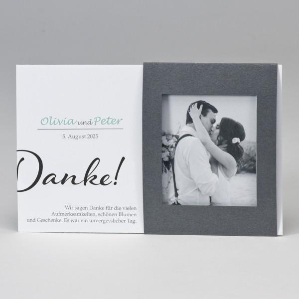 Fotodanksagungskarte mit silbernem Passepartout