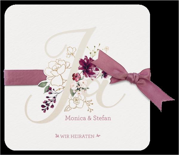Hochzeitskarte - Romantisch Ja