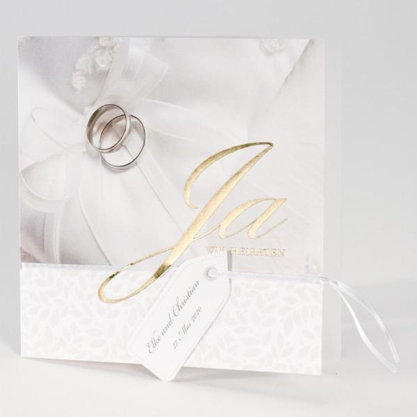 Rechteckige Hochzeitskarte mit Goldfolienprägung und Eheringen