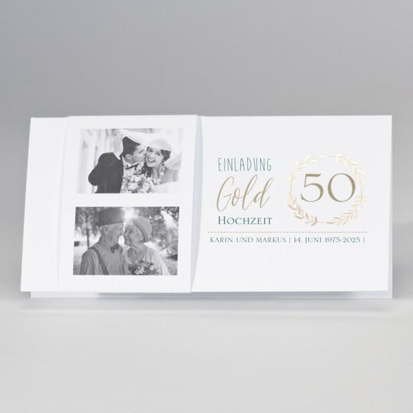 Weiße Fotokarte mit Jubiläumskranz 50 in Gold