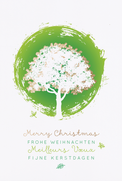 """Weihnachtskarte """"Grüner Kreis mit Baum"""""""