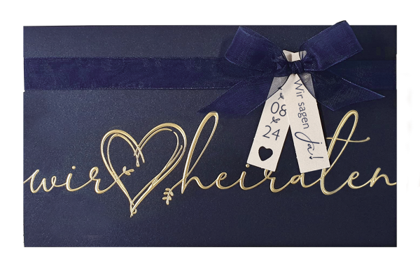 Luxeriöse blaue Hochzeitskarte Pocketfold