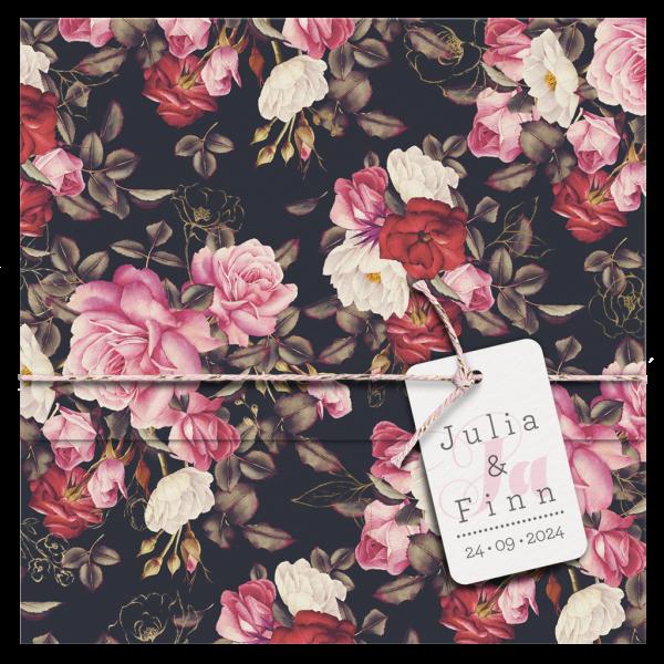 Hochzeitskarte - Blumenpracht