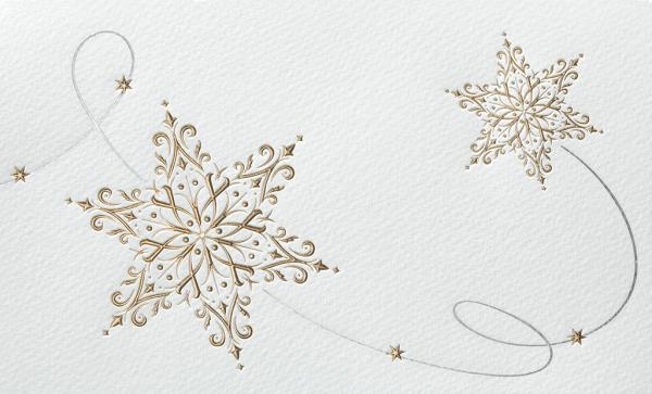 """Weihnachtskarte """"Goldene Schneeflocken und Sterne"""""""