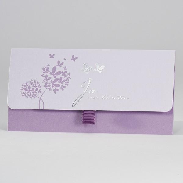 Edle lilafarbene Einladung mit integrierter Tasche für Einsteckkärtchen