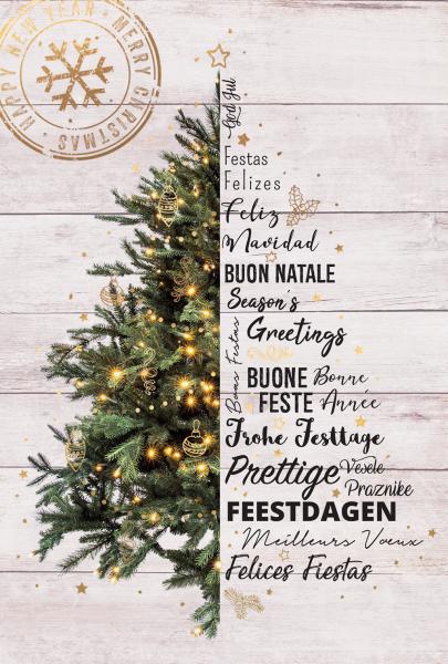 """Weihnachtskarte """"Weihnachtsbaum auf Holz"""""""