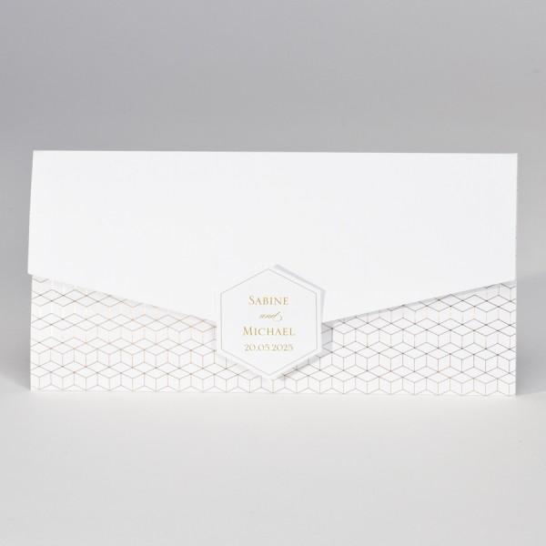 Hochzeitskarte im Taschenlook mit geometrischem Design