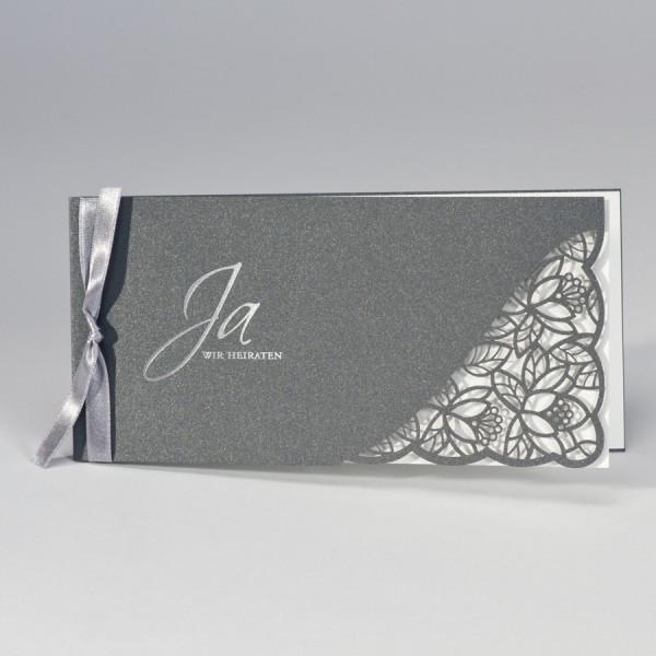 Anthrazit Hochzeitskarte mit Spitze Stanzung & cremigem Einleger