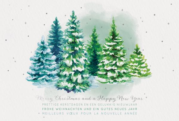 """Weihnachtskarte """"Atmosphärische Aquarell-Weihnachtsbäume"""""""