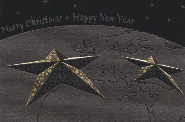 """Weihnachtskarte """"Globus mit Sternen"""""""